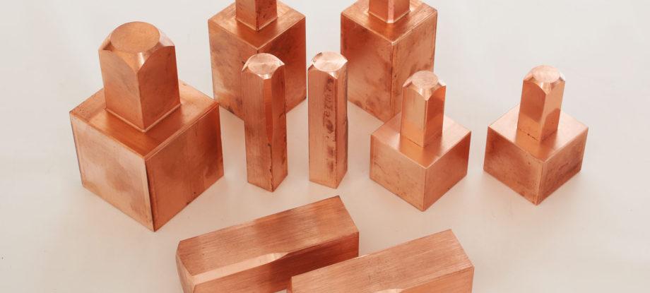 blocchetti grezzi rame attacco T rame e rame tungsteno Copper and Copper tungsten