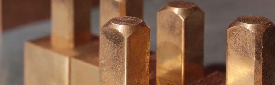blocchetti grezzi in rame per costruzione elettrodi